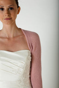 Bridal jacket knitted with lace made of cashmere dusty pink