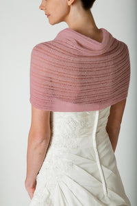 Knit pashmina transparent for your birdal gown in ivory and blush