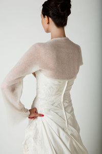 Bridal bolero made of cashmere for your bridal gown ivory and white