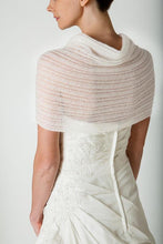 Load image into Gallery viewer, Wedding stole knitted in lace pattern for your bridal dress ivory and rose