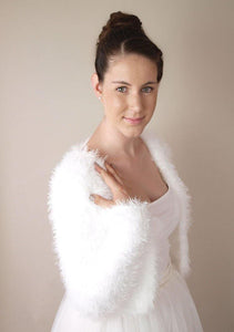 Fluffy bridal cardigan JOSY for your wedding in autumn or winter soft and warm