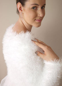 Beemohr bridal knit with fluffy cosy cardigan for wedding dresses