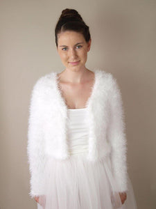 Wedding cardigan in a fluffy look warm for autumn and brides