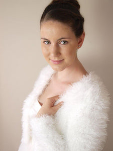 Wedding cardigan in a fluffy look white for autumn and winter brides