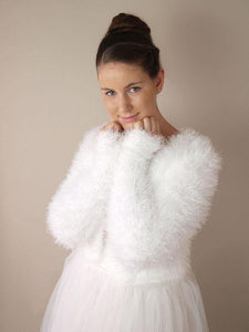 Wedding cardigan in a fluffy pattern warm for autumn and winter brides