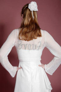 Knit Bolero ivory and gold for your bridal gown with letters BRIDE