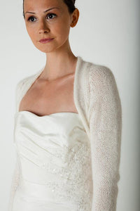 Bridal knit bolero for your wedding white and ivory and pale blue