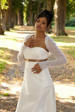 Load image into Gallery viewer, white knit jacket for your bridal gown bohemian wedding ivory