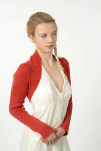 Red knit bolero for brides