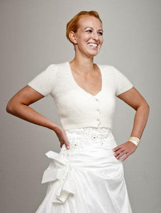 Bridal jacket knitted with matching cuffs for your wedding ivory