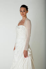 Load image into Gallery viewer, Bridal bolero in ivory and white; we knit for brides