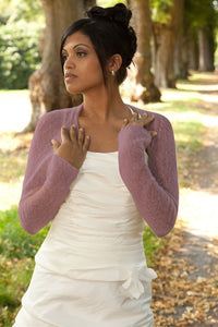 Cashmere knit bolero for brides with 3/4 sleeve berry