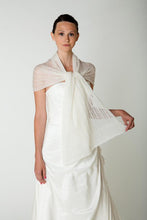 Load image into Gallery viewer, Bridal stole knitted for your boho wedding dress or skirt ivory and white