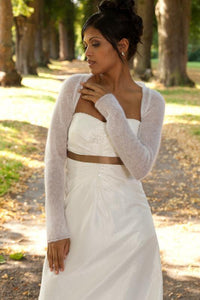 ivory knit jacket for your bridal gown bohemian wedding