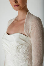 Load image into Gallery viewer, Bridal Cashmere knit bolero for brides with 3/4 sleeve