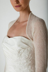 Bridal Cashmere knit bolero for brides with 3/4 sleeve