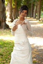 Load image into Gallery viewer, Cashmere knit shrug for brides with 3/4 sleeve white and ivory