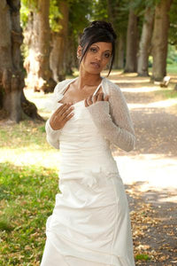 Cashmere knit shrug for brides with 3/4 sleeve white and ivory