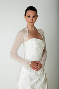 Cashmere jacket knitted for your wedding with lace