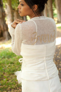 Bridal Bolero with your Letter Initials ebroidered in silver or gold