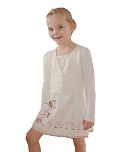 Knit jacket for flower girls in ivory with knots from beemohr