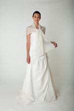 Load image into Gallery viewer, Wedding stole knitted in lace pattern for your bridal dress ivory