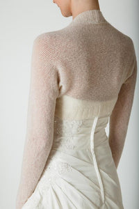 Bridal knit coverup made with soft wool ivory