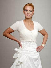 Load image into Gallery viewer, Bridal short sleeve bolero ivory with knots ala kate middleton