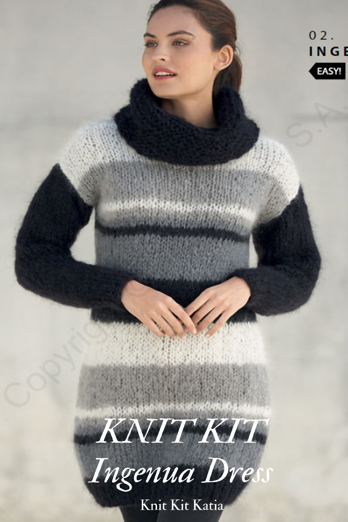DIY knit dress made of soft ingenua mohair yarn from katia