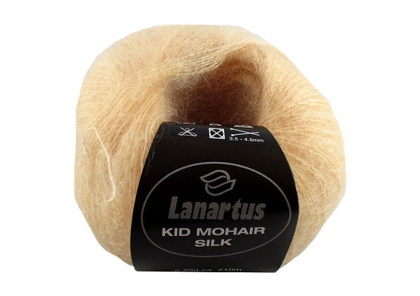 kid mohair wool in white and apricot