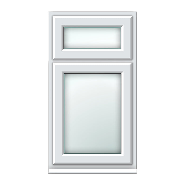 White top hung over side hung window