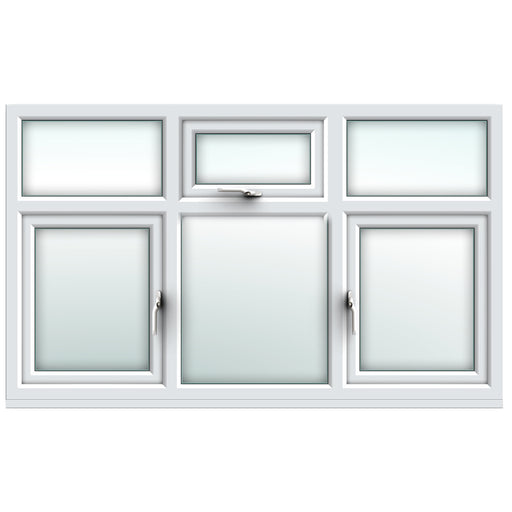 White fixed over side hung/ top over fixed / fixed over side hung window