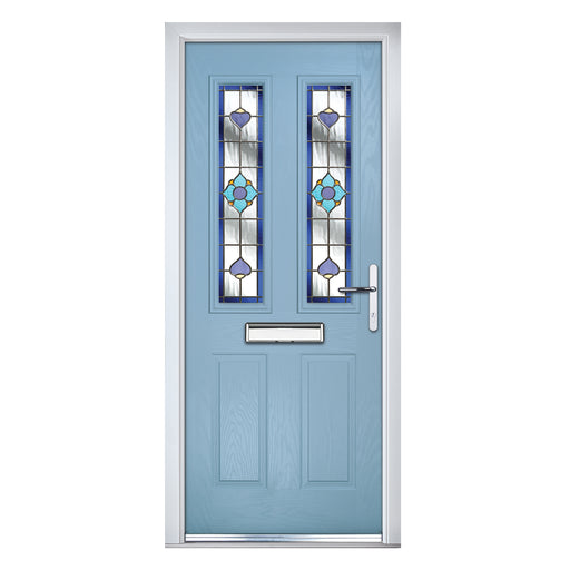 Carnoustie Cotswold Blue Composite door with Blue Dorchester glass