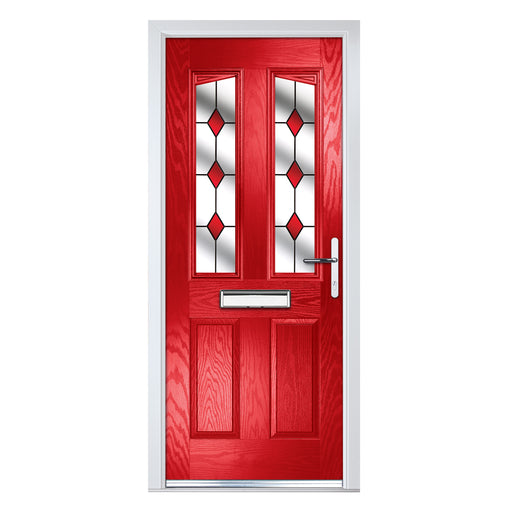 Penina Red Composite door with Red Diamonds