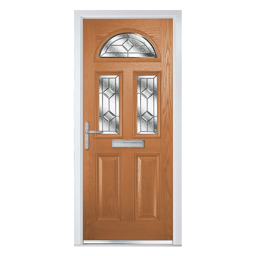 Riviera Golden Oak Composite door with Simplicity Zinc glass