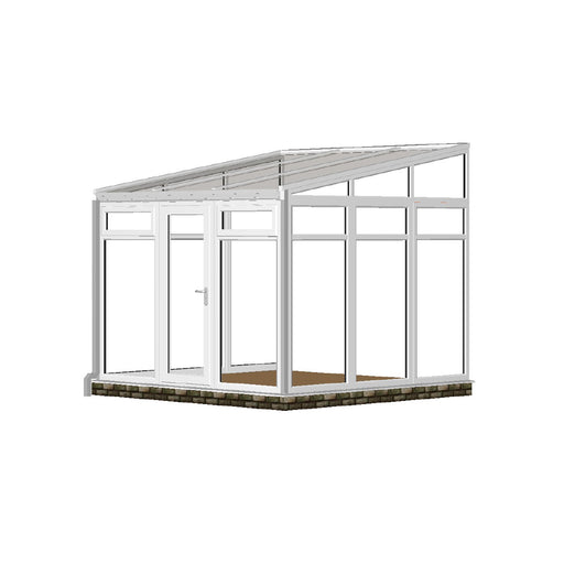 Full height Lean to Conservatory with GLASS ROOF
