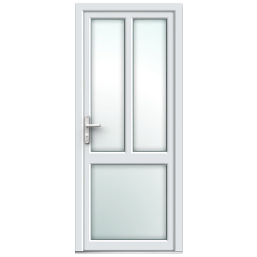 White Resi Door with midrail & mullion