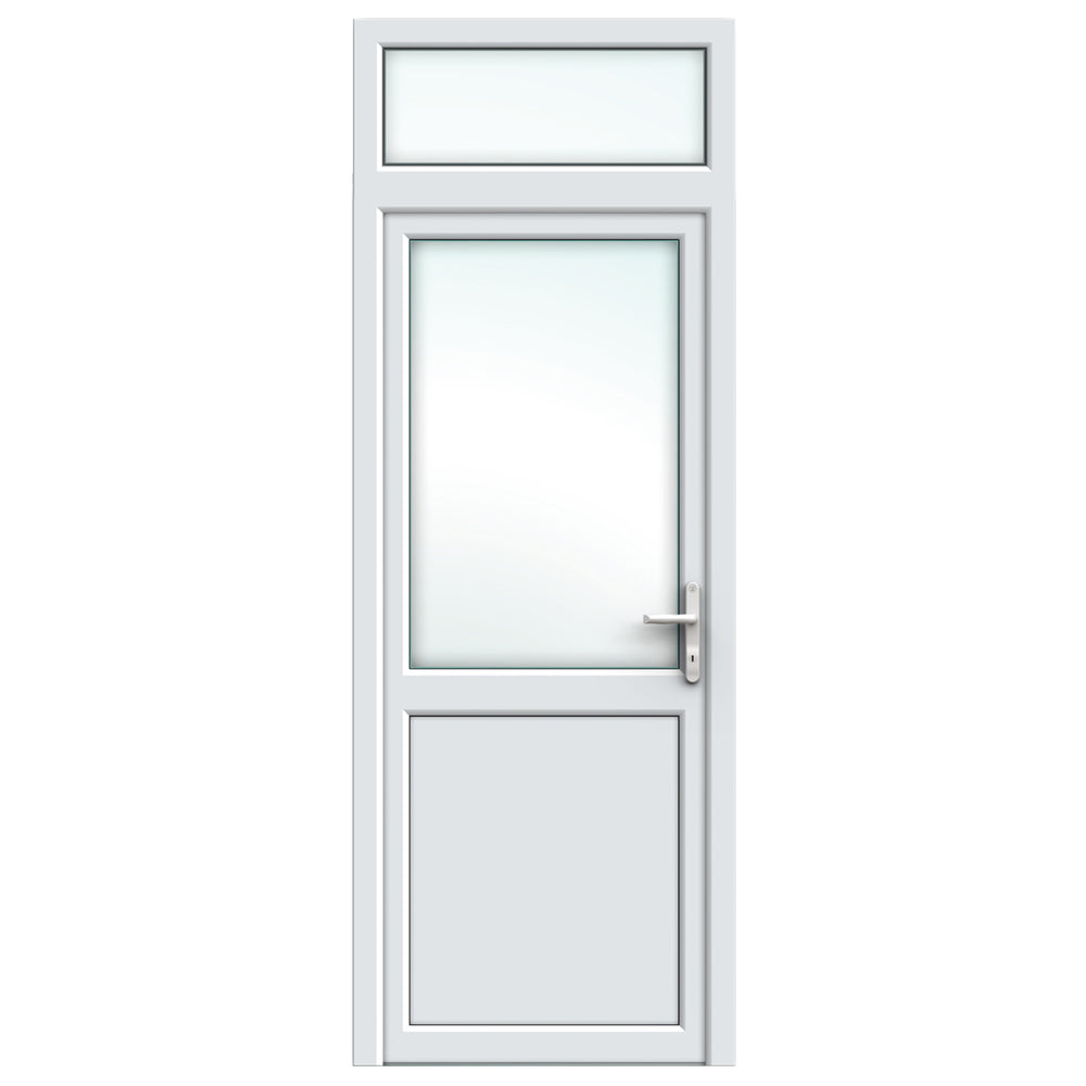 White Resi Door with midrail and top light