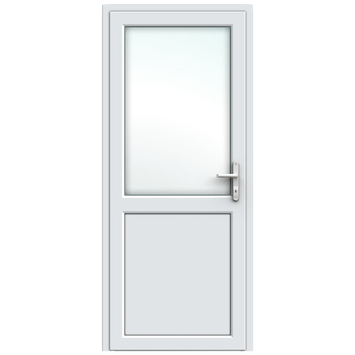 White Resi Door with midrail
