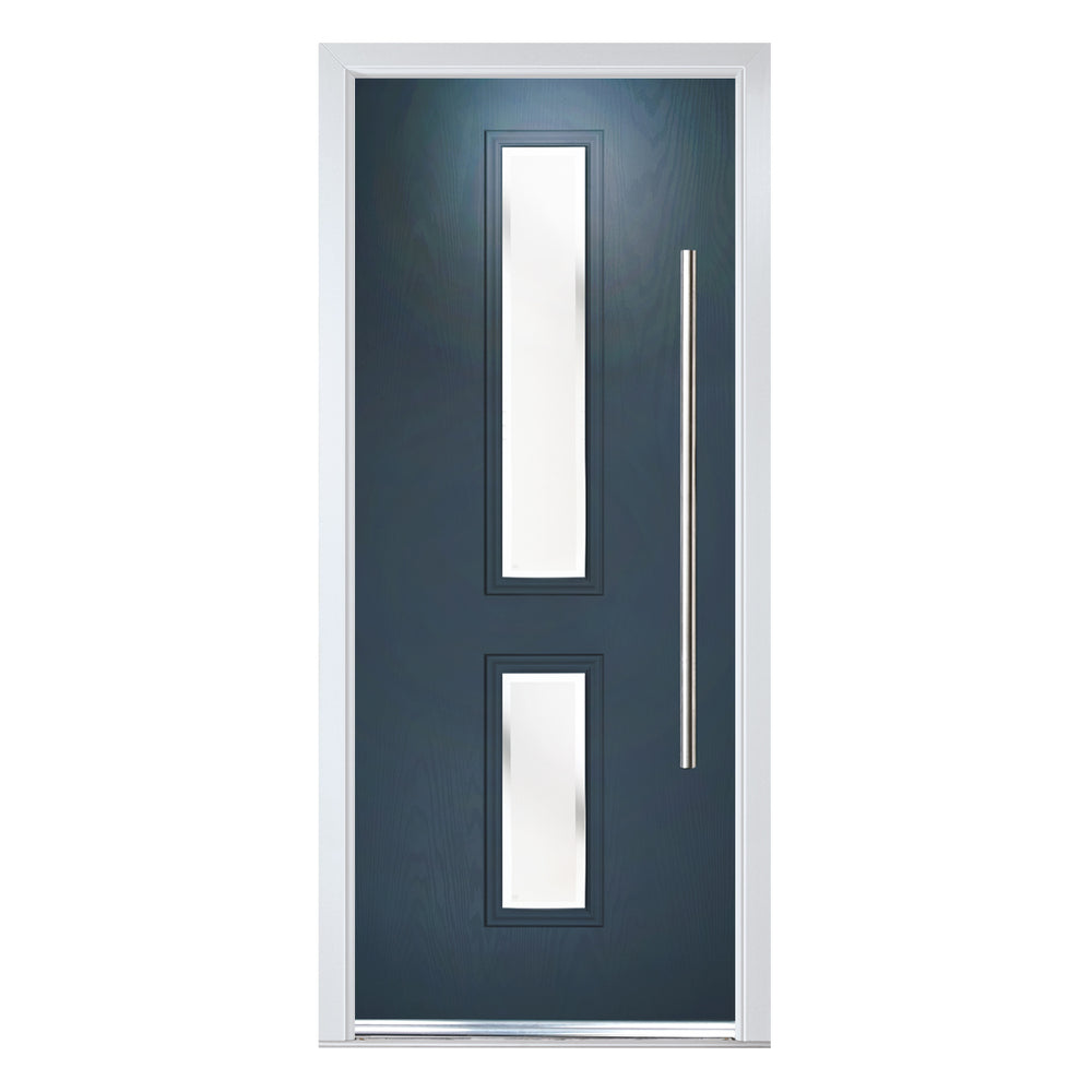 Valderrama Flush contemporary Composite door with Kensington glass
