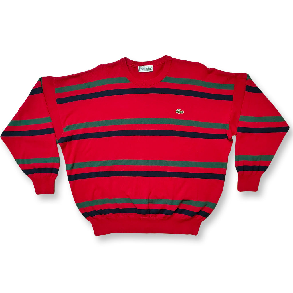 Vintage Lacoste Sommer Sweater rot/grün/blau | S