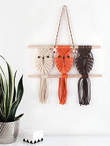 Three Owls Macrame Woven Wall Hanging Art Decor