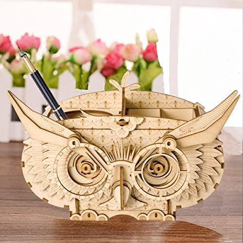 Wooden Puzzle Creative Owl Box Wood Pen Pencil Container Holder