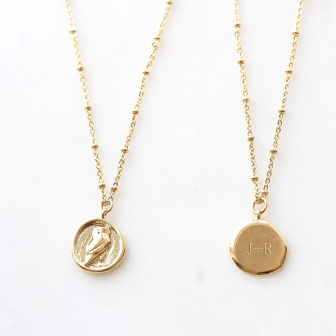 Handmade Owl Gold Coin Necklace
