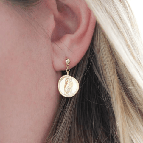 Handmade Owl Gold Drop Earrings