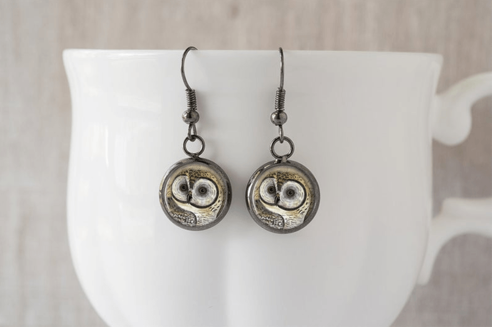 Handmade Owl Dangle Earrings