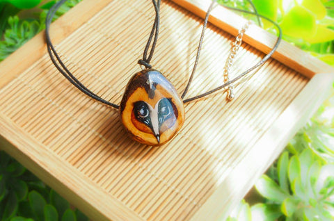 Handmade Walnut Owl Necklace