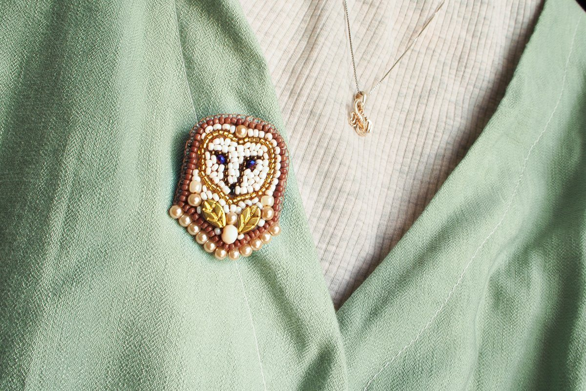 Handmade Owl Beaded Embroidery Brooch