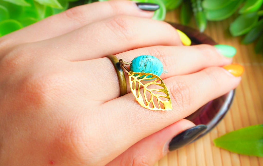 Ring - Turquoise Leaf Ring