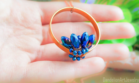 Handmade Blue Lotus Necklace